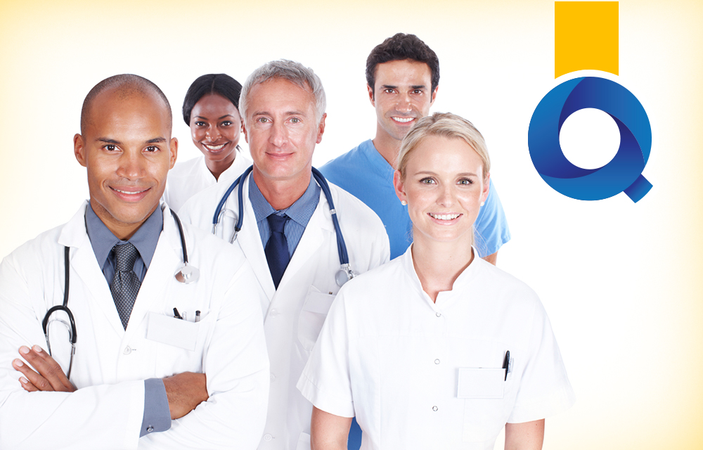 Doctors and nurses with Quality Blue logo